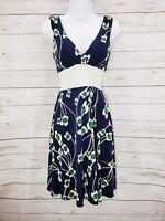 Alyn Paige New York Dress Sz Small Women Blue Floral Stretch Sleeveless Tie Back