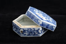 033 Tek Sing Chinaporzellan antik blau-weiße Sechseckdose Rarität