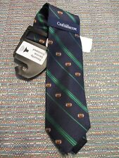 Chaps Silk Blend Navy Green Stripe Curly Football Novelty Neck Tie SR$34 NEW