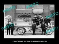 OLD LARGE HISTORIC PHOTO OF COLTON CALIFORNIA, THE FIRE DEPARTMENT CREW c1910