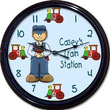 Train Station Engineer Caboose Custom Personalized Wall Clock Child Bedroom New