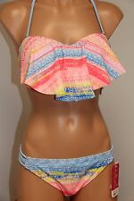 NWT Hula Honey Swimsuit Bikini 2 piece set Sz L Bandeau Strapless Multi