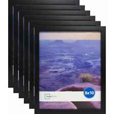 "Set of 6 Black Picture Frames Home Decor Mainstays 8"" x 10"" Photo Linear Frame"