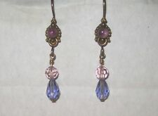 "Purple Cabochon Stones Crystals Dangle Earrings 1.75"" Brass Gold Tone Vtg"