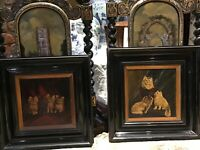 PR EARLY VICTORIAN PORTRAITS OF KITTENS IN EBONISED FRAMES