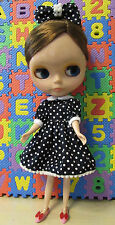 Blythe Doll Outfit White Dot Blue Short Sleeve Dress + Hair Bow Set