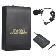 FM Transmitter Receiver Lavalier Lapel Wireless Microphone Clip Mic System