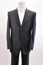 NWT $2000 Luciano Barbera Grey Pinstriped Suit 100% Wool Size 48/38 US REG