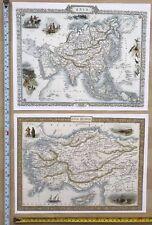 2 x Old Antique vintage colour maps 1800s: ASIA & ASIA MINOR Tallis Reprint