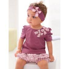 baby girls vertbaudet outfit set 3 piece top shorts headband Floral Purple Pink