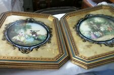 PAIR OF VICTORIAN STYLE BLACK & GILT REVERSE PAINTED FRAMED PRINTS FRENCH SCENE?