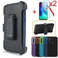For Motorola Moto G8 Power Case Holster Belt Clip Stand Glass Screen Protector