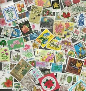 FLOWER STAMPS THEMATICS - SEVENTY  ALL DIFFERENT