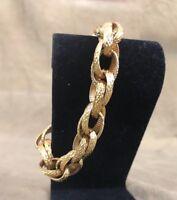 "Vintage Tubular Gold tone? CHUNKY think Chain LINK 7.5"" Bracelet signed Monet"