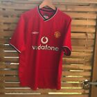 Manchester United Home Shirt 2000/01 Vodafone Red Size M Name Printed On Back