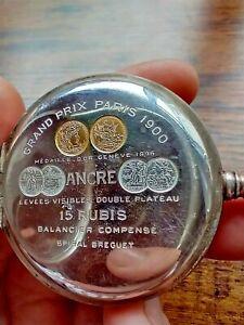0.800 Silver Zenith Pocket Watch from 1918. Grand Prix Paris 1900. 18.28.1 cal