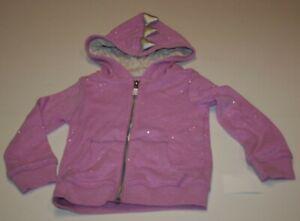 New OshKosh Girls Hoodie 2T Glitter Purple Dinosaur Spikes Zip Up Jacket Sweatsh