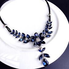 Blue leaves pendant fringe short necklace UK