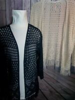 """""""FADED GLORY"""" Cardigan Sweaters, 4 Sizes, Off Wht/Navy, Fringed, BRAND NEW"""