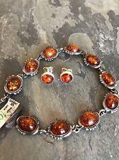 """NWT VTG Sterling Silver Polish Orange Amber Link Bracelet 8"""" Poland 925"""