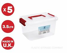 5 X 3.5 LITRE PLASTIC STORAGE BOX! QUALITY CONTAINER WITH CLEAR LID! STACKABLE!