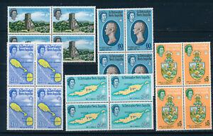 ST CHRISTOPHER NEVIS ANGUILLA 1963 DEFS SG140/144 (HIGH VALUES) BLOCKS OF 4 MNH