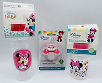 2 Minnie Mouse Baby Bottles 1 Pacifier Gift Set Baby shower Girl Present
