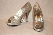 """RAMPAGE ~ """"Gracee"""" Silver Glitter Open Toe Heels Sz 7.5 M * VERY GOOD COND."""