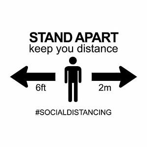 Social Distancing Decal Sticker 'Stand apart' | Vinyl Wall Sticker for Shops Off