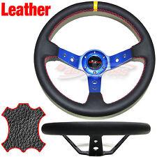 Corsica DEEP DISH Style LEATHER Drift Steering Wheel RED Trim BLACK 350mm BLUE