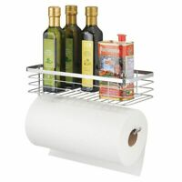 mDesign Metal Wall Mount Paper Towel Holder & Spice Rack Shelf - Chrome
