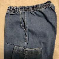 CROFT  &  BARROW ... Elastic Pull-On Denim Blue Jeans Pants ... Plus Size 1X