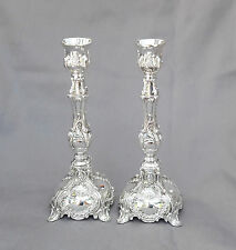 "Amazing Candlesticks pair Nickel Candle Holders Shabbat israel Jewish.S17cm/6.5"""