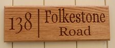 Personalised Oak House Sign Address CNC Carved  Outdoor Wooden Name Plaque