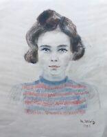 Max Ulvig 1913-1969 Zeichnung Porträt Hübsches junges brunettes Mädchen