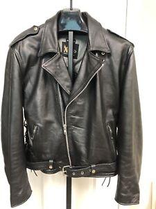 Leather Motorcycle Jacket XXL Biker Black Elbow & Shoulder Guards Side Lace Punk