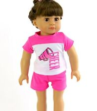 "Hot Pink Cheer Short Set Fits 18"" American Girl Doll Clothes"