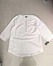 Women White JM Collection 3/4 Sleeve Solid Blouse sz XL