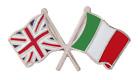 Italy Flag & United Kingdom Flag Friendship Courtesy Pin Badge