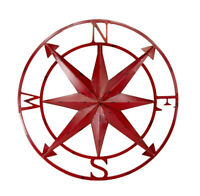20 Inch Distressed Metal Compass Rose Nautical Wall Decor Indoor Outdoor, Red