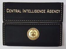 CIA Central Intelligence Agency Black Leather Hard Case Business Card Holder