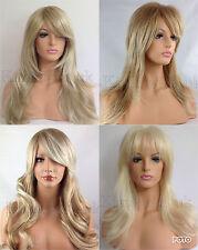 longue blonde FEMMES PERRUQUE CHEVEUX tendances ouverte ondulés bouclés