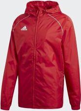 adidas Mens Core Rain Jacket Waterproof Sports Football Hooded Windproof Coat Red XL