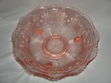 Pink Depression Glass Footed Bowl Berries Butterflies Saw Tooth Edge NICE