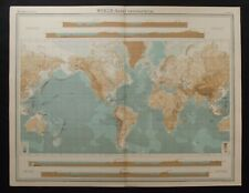 Vintage Map: The World - Bathyorographical by John Bartholomew, Times Atlas 1922