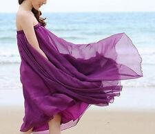 BOHO Womens Summer Long CHIFFON Full Skirt Maxi Skirt Beach Dress Sundress Party
