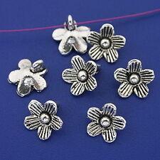 30pcs dark silver tone plum flower charms h3300