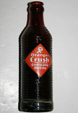 Vtg Orange Crush Company Glass Bottle Amber Brown 7oz Midcentury ACL Crushy