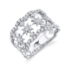 Wide Cocktail Right Hand Round Cut Open Diamond Star Ring 14K White Gold Womens