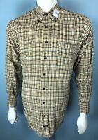 Mens Robert Talbott Medium Tan Shirt w/ Carmel & Gray Grid Plaid Stripes Brn Btt